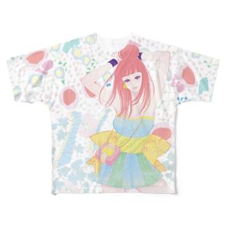 猫屋の百子ちゃんと柄模様 Full graphic T-shirts