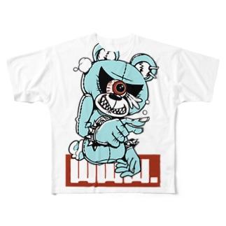 煽りベア ブルー Full graphic T-shirts