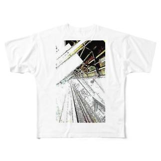 視線に気づかぬまま始発に飛び込んだサラリーマン Full graphic T-shirts