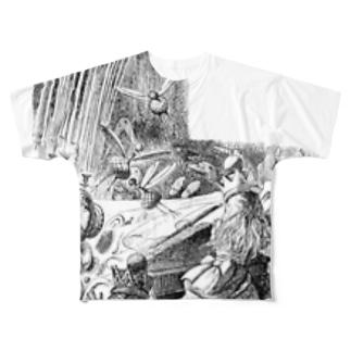 鏡の国のアリス 食卓 Full graphic T-shirts