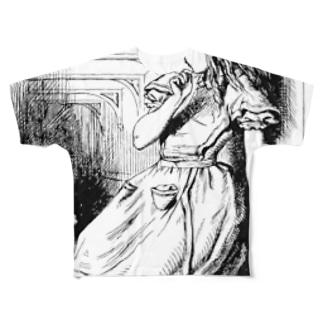 不思議の国のアリス 逃げる白ウサギ Full graphic T-shirts