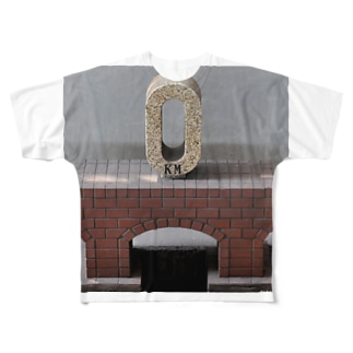 ゼロ キロポストー片面プリント  Full graphic T-shirts