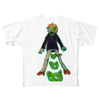 かえるがビックリしている Full graphic T-shirts