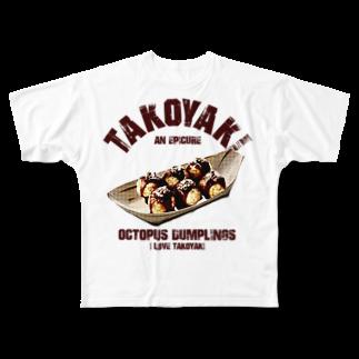 NAGOMI-Creationの大阪名物 たこ焼き ヴィンテージstyle Full graphic T-shirts