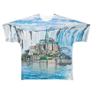 モンサンミッシェルinナイアガラの滝 Full graphic T-shirts