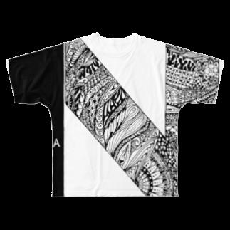 KIKIKAIKAIのナマラベイプ黒 Full graphic T-shirts