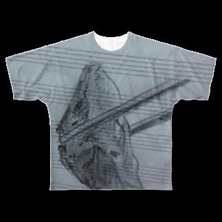 よまショップの五線譜上の餃子 Full graphic T-shirts