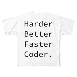 Harder Better Faster Coder. (Source Code Pro ver.) Full graphic T-shirts