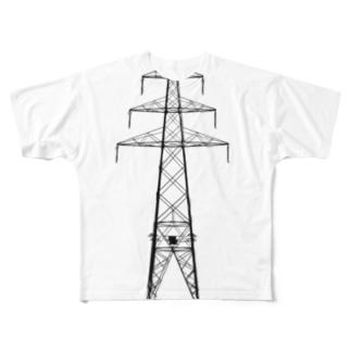 鉄塔No.13 田舎鉄塔 Full graphic T-shirts