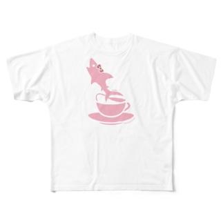 ティーカップとSAME/サメ Full graphic T-shirts