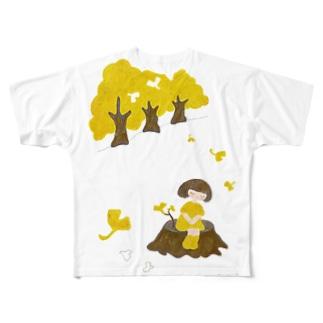 いちょうちゃんと秋 Full graphic T-shirts
