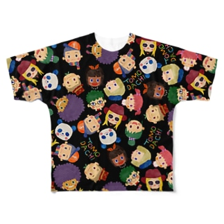 TOMODACHI柄Tシャツ(BLACK) Full graphic T-shirts