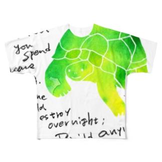 笑うかめ Full graphic T-shirts