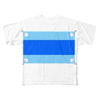 マラソンゼッケン(ブルー) Full graphic T-shirts