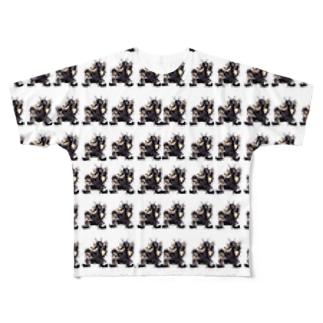 イラストサタン鈴木総柄Tシャツ Full graphic T-shirts