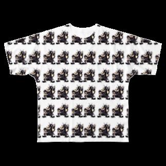 HELL DUMP人造人間SHOPのイラストサタン鈴木総柄Tシャツ Full graphic T-shirts
