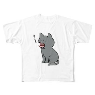 あくびをするロシアンブルー  Full graphic T-shirts