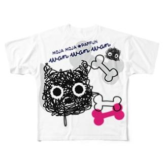 CT107 もじゃもじゃ★ぱっふん*wanwanwanA Full graphic T-shirts