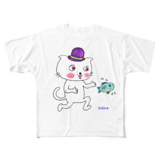 大好き♥帽子ねこ Full graphic T-shirts