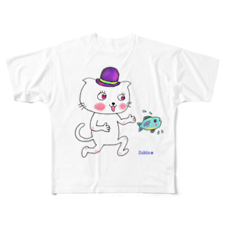 Yume zukin の大好き♥帽子ねこ Full graphic T-shirts
