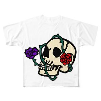 おしゃれなしゃれこうべさん Full graphic T-shirts