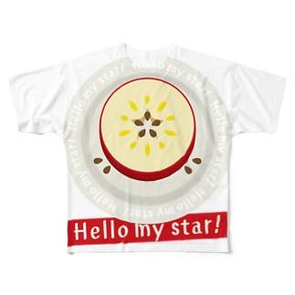 CT105 輪切りのリンゴD*bg Full graphic T-shirts