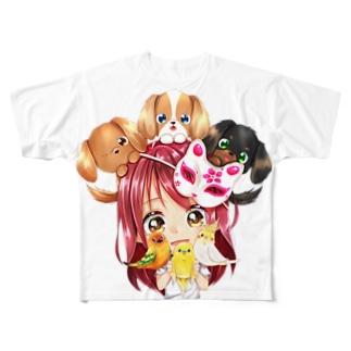 きゃぴあてれび♥ショップのハッピーアニマル(初期限定デザイン|キャバリア・インコ・犬・鳥) All-Over Print T-Shirt