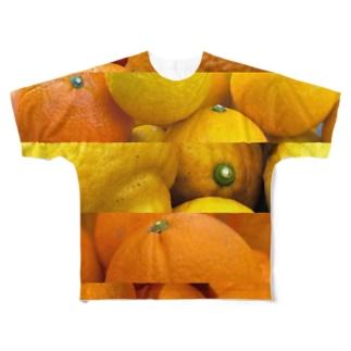柑橘ボーダー Full graphic T-shirts