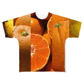 柑橘ストライプ2 Full graphic T-shirts