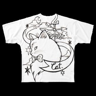 naomi yamaneの222cat Full graphic T-shirts