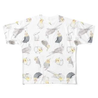まめるりはことりのたっぷりオカメインコちゃん【まめるりはことり】 Full graphic T-shirts