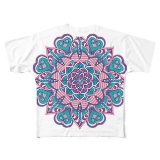 ボーホー柄A Full graphic T-shirts