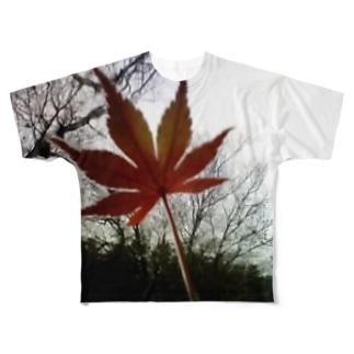 木立と紅葉 Full graphic T-shirts