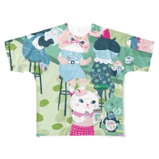 猫カフェ Full graphic T-shirts