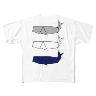 折り紙 マッコウクジラ Full graphic T-shirts