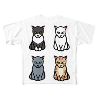 エジプト座りしながら様子を伺う猫 Full graphic T-shirts