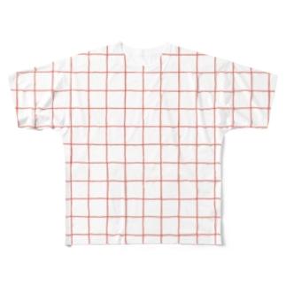 チェックT-アカ Full graphic T-shirts