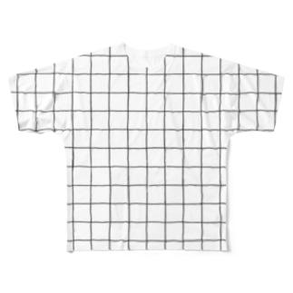 チェックT-シロ Full graphic T-shirts
