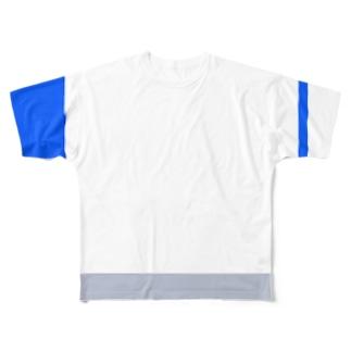 アシンメトリブロック バイカラー Full graphic T-shirts