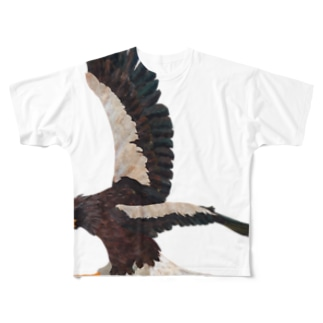 空の王者オオワシ フルグラフィックTシャツ