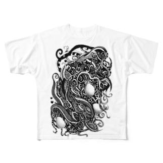 廻る蛇 Full graphic T-shirts