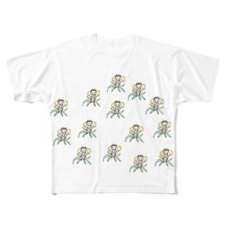 ヤシの木と蝶々の合体女子 Full Graphic T-Shirt