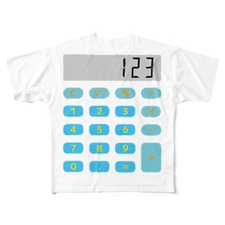 電卓ブルー Full graphic T-shirts