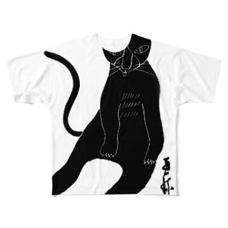 くろねこペロリ フルグラフィックTシャツ