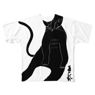 megumiillustrationのくろねこペロリ フルグラフィックTシャツ