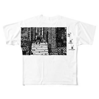 野良 ロゴ入りver Full graphic T-shirts