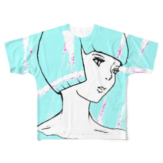 ショートカット フルグラフィックTシャツ