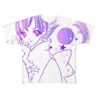 [ E+ ] SHOPのFull moon love Full graphic T-shirts