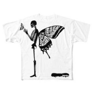 バタフライスカル・マイラブ Full graphic T-shirts