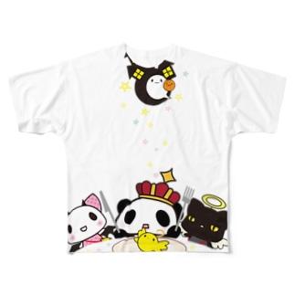 王様ぱんだ。ハロウィン。 Full graphic T-shirts